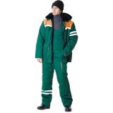 """Костюм """"ЛИДЕР"""" зимний: куртка+полукомбинезон (зеленый с оранжевым)"""
