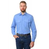 Рубашка охранника в заправку длинный рукав (голубая)